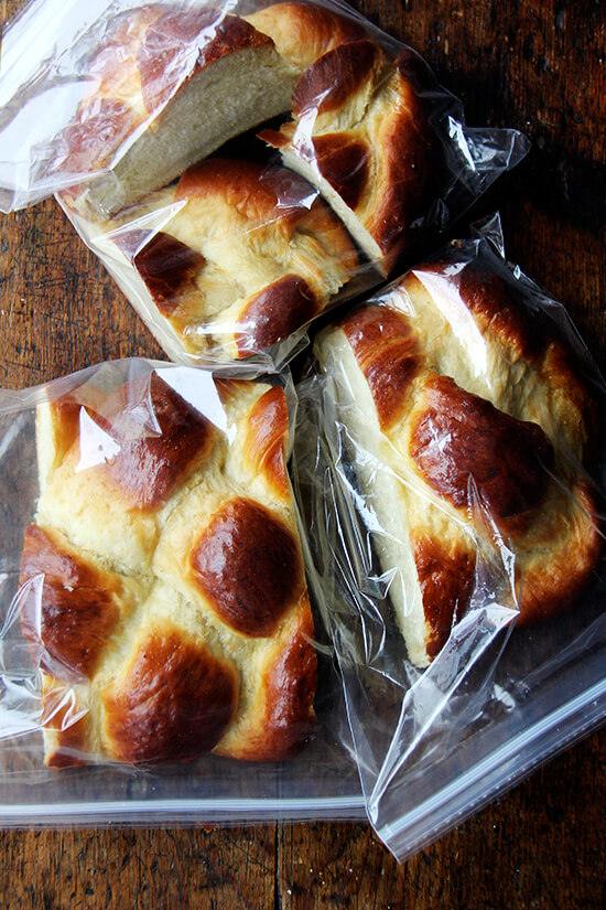 Bagged challah bread.