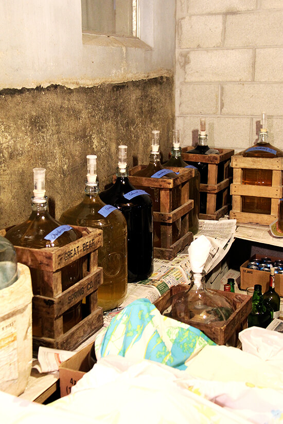 Large jugs of homemade wine lining the perimeter of Antonietta's basement.