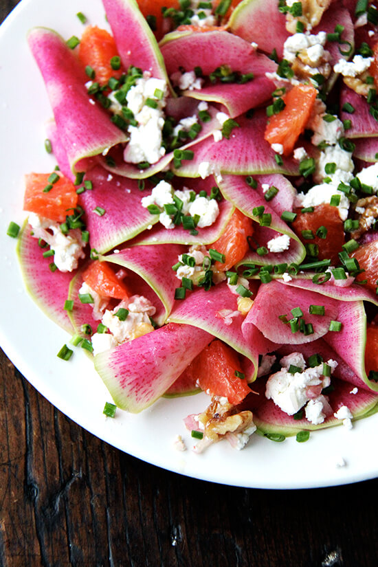 Watermelon radish, goat cheese, chives, and walnut salad.