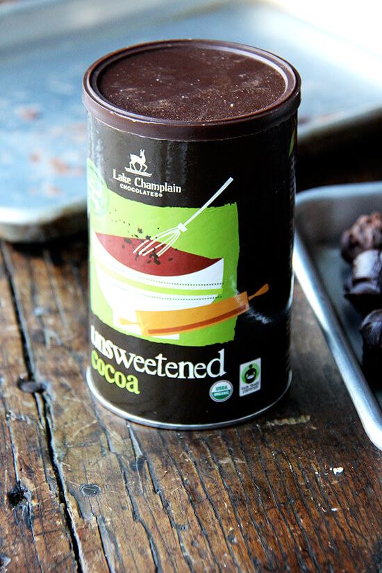 A tin of unsweetened cocoa powder.