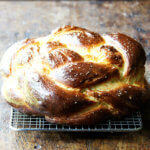 A loaf of freshly baked challah.