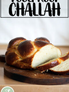 Freshly baked Challah on a board.