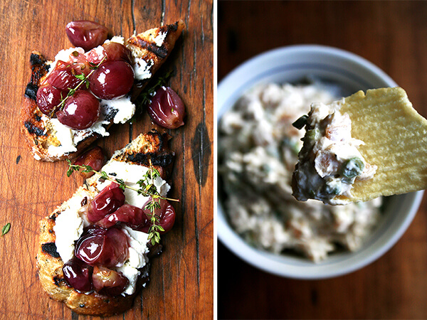 roasted grapes with thyme, real sour cream and onion dip
