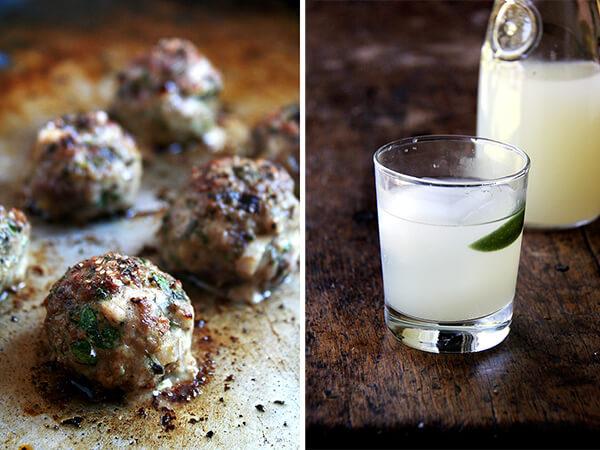 lamb meatballs, san pellegrino cocktail