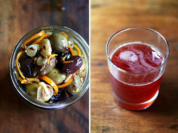 marinated olives, negroni