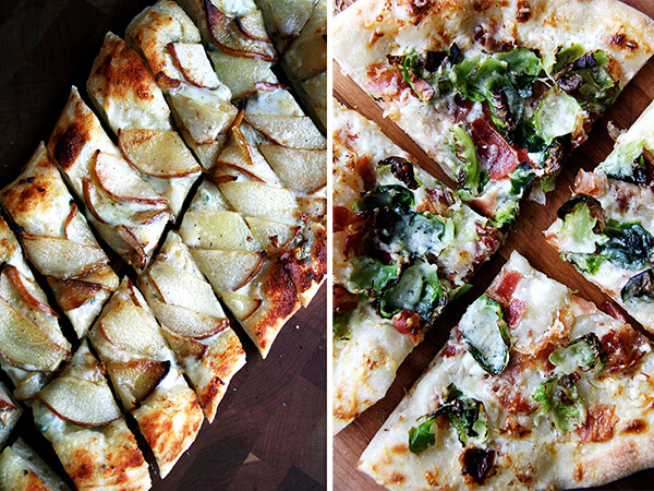 alsatian flatbread with pears and gorgonzola, brussels sprouts and bacon