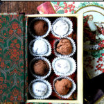 Boozy chocolate truffles in a box.
