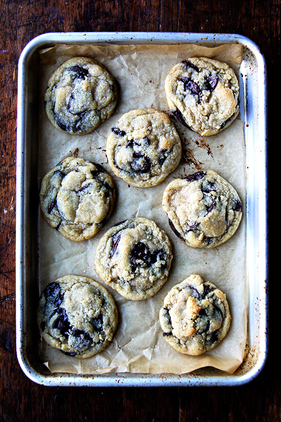 These cookies, soft and chewy chocolate chip cookies, still happen to be my favorite, chocolate chip or otherwise, a decade after first making them. These cookies might help when you're snowed in. I can't think of a better way to pass the time. // alexandracooks.com