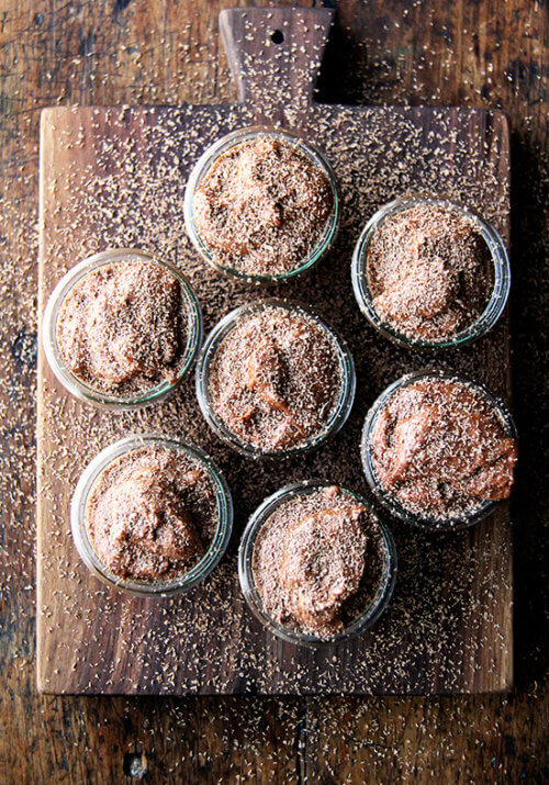 Chocolate mousse is a great make-ahead recipe if you plan on spending Valentine's Day at home, and, Valentine's Day calls for chocolate, right? This recipe doesn't just taste like chocolate-flavored whipped cream. It has body with a lightness coming exclusively from beaten egg whites. // alexandracooks.com