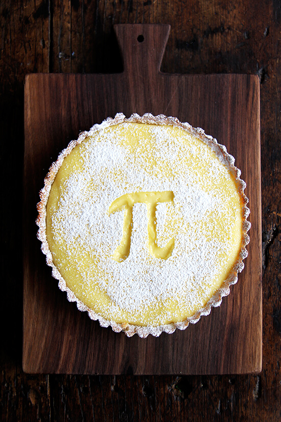 What to do with a case full of Meyer lemons in March? How about a delicious lemon tart made with lemon cream in a tart shell? Yum. // alexandracooks.com