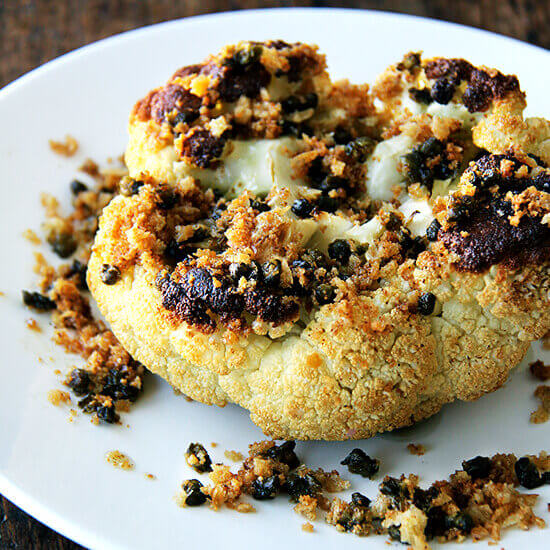 Whole-Roasted Cauliflower with Fried Capers and Brown Butter Breadcrumbs