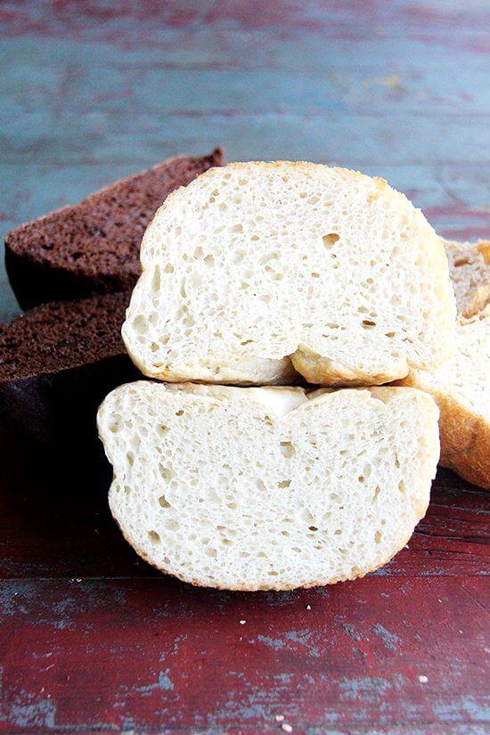 peasant bread, halved