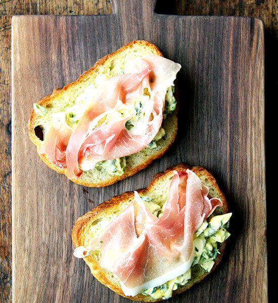 Pickled Egg Salad Toasts