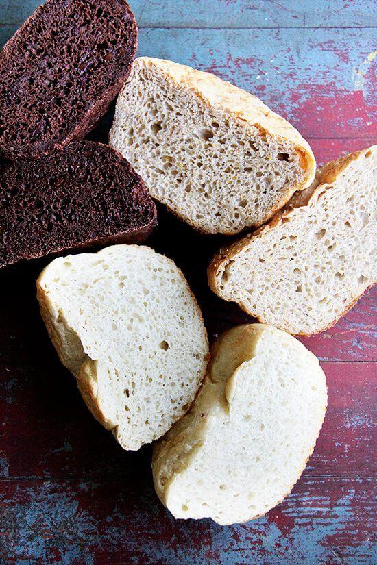 halved bread