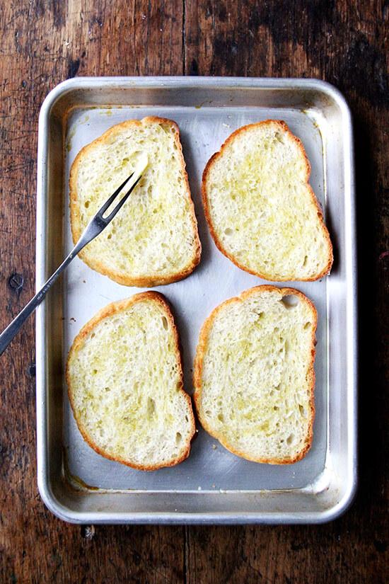 rubbing with garlic