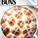 Just glazed hot cross buns in pan.