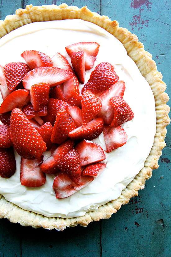 I have made this strawberry mascarpone tart several times with a lemony, sweetened mascarpone topped with fresh berries. This is the only pastry crust I will make all summer long in my hot kitchen, on my unforgiving countertops, with my warm, clammy hands. Sayonara rolling pin, see you in the fall. // alexandracooks.com
