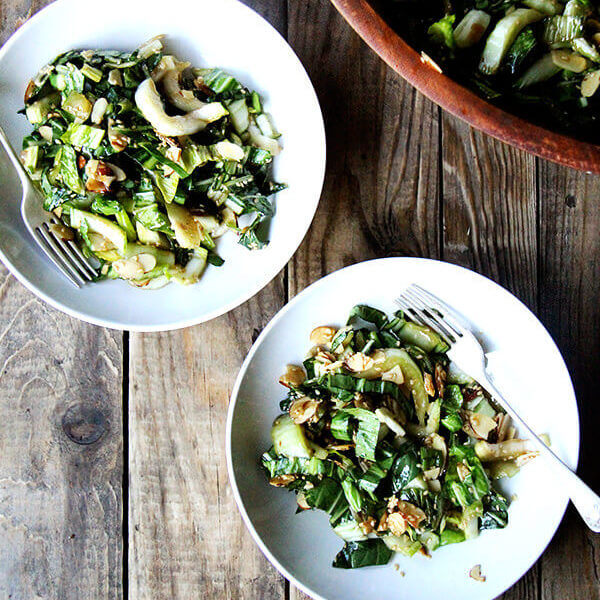 Bok Choy Salad with Sesame-Almond Crunch