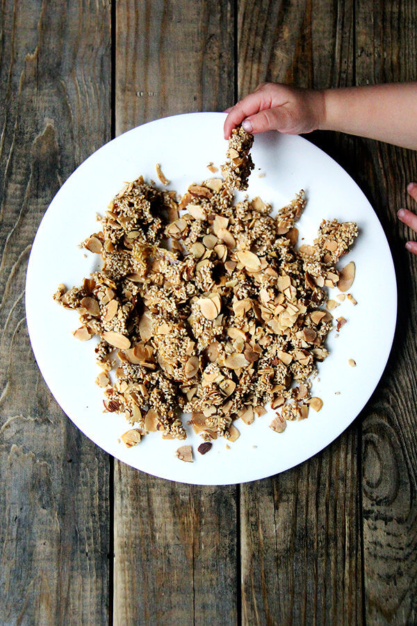 sesame-almond crunch on a plate.