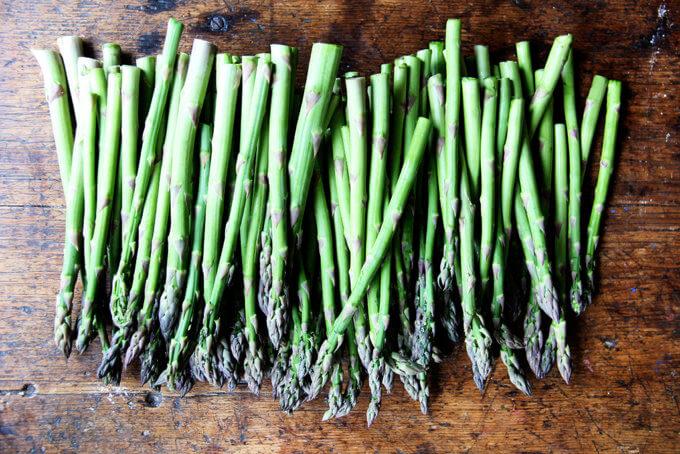Asparagus on a board.