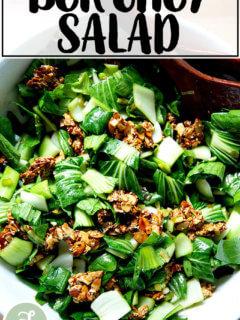 Bok choy salad with sesame almond crunch.
