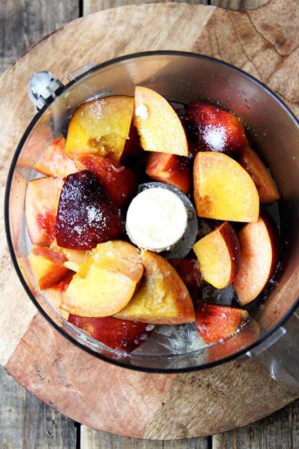peaches, food processor