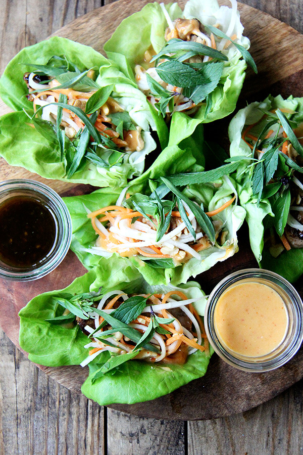I love this peanut sauce, one I have made a number of times over the years, for its versatility: for chicken satay, lettuce wraps, and fresh spring rolls. It, along with copious amounts of Thai basil, even transforms tofu. // alexandracooks.com