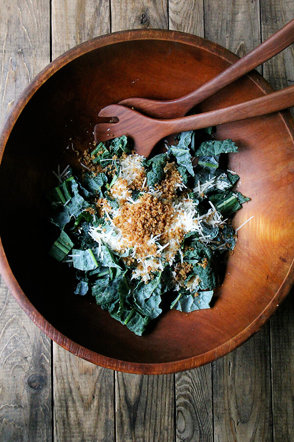 kale with parmesan and toasted breadcrumbs