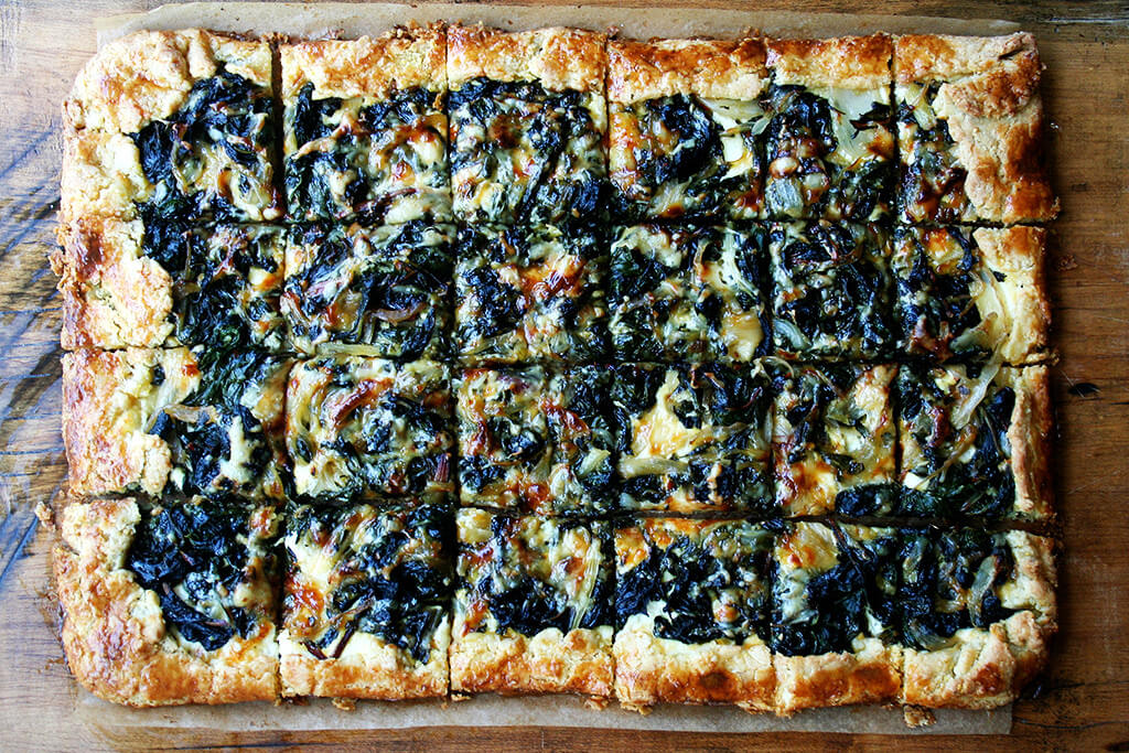 slab galette with swiss chard and gruyere