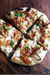 caramelized onion, burrata pizza