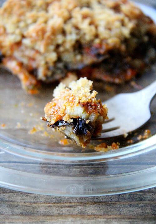 a bite of no-fuss eggplant parmesan