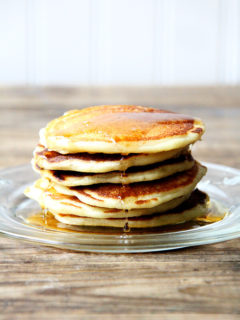 A stack of one-bowl buttermilk pancakes.