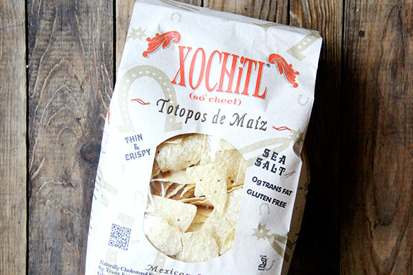 Xochitl chips in a bag.