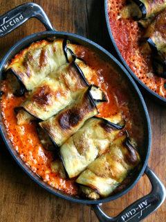 A pan of eggplant involtini