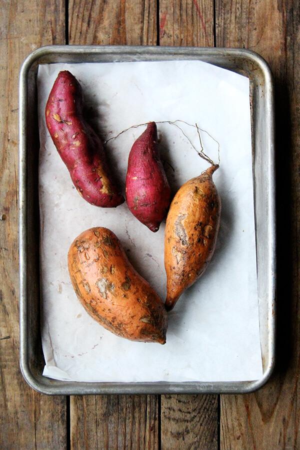 sweet potatoes on a sheet pan
