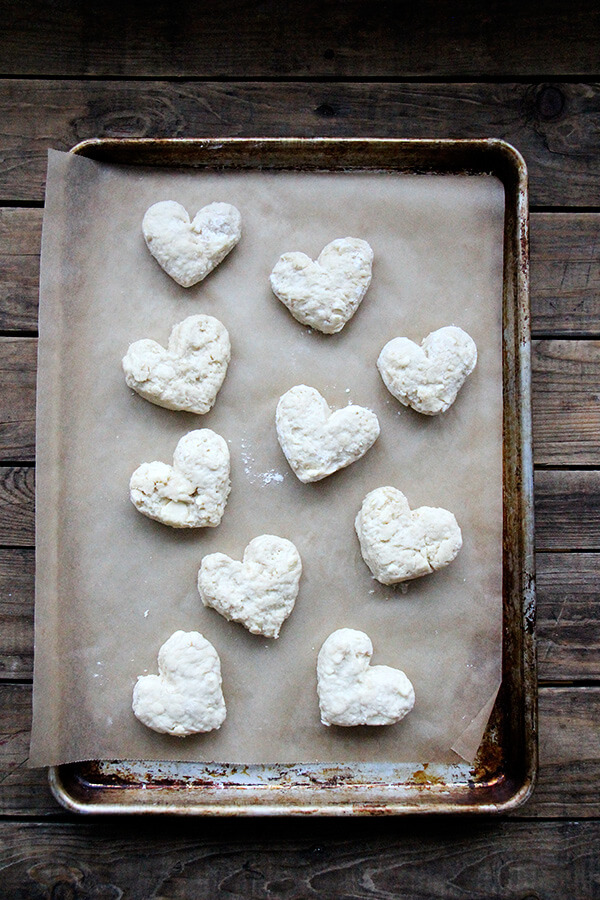 A tray of unbaked heart scones.