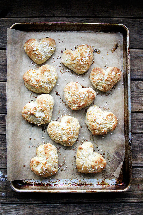 A tray of freshly baked heart scones.