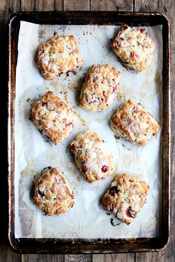 These cranberry scones are a delightful Christmas treat that are satisfying, beautiful, and so easy to whip together! // alexandracooks.com