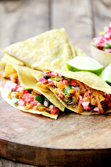 Sweet Potato Quesadillas with Radish Salsa