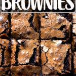An overhead shot of cut, fudgy brownies.