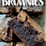 A cut fudgy brownie.