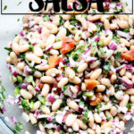 A bowl of white bean salsa.