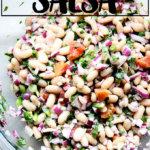 A bowl of white bean salsa.