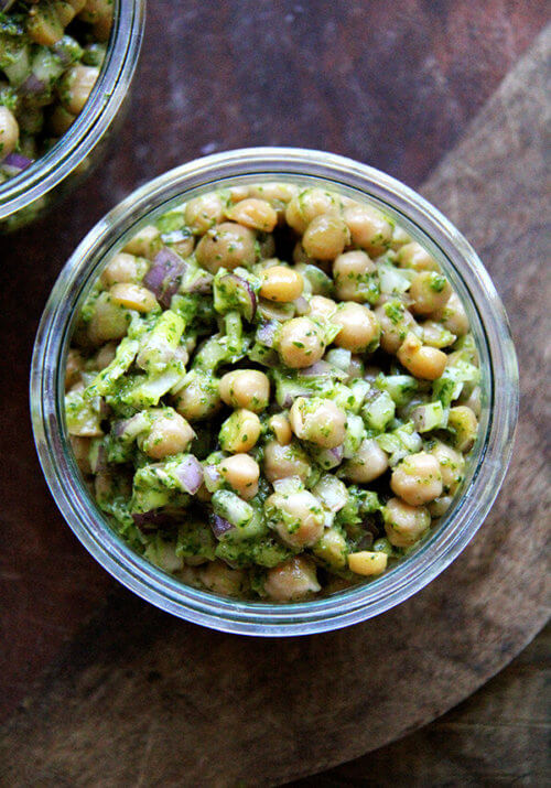 In this in-between season of foods, when the comforts of winter have lost some of their appeal yet spring fare still feels months away, this simple salad of chickpeas with cilantro-lime dressing couldn't have tasted more refreshing.