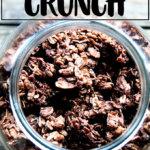 A jar of homemade cocoa crunch.
