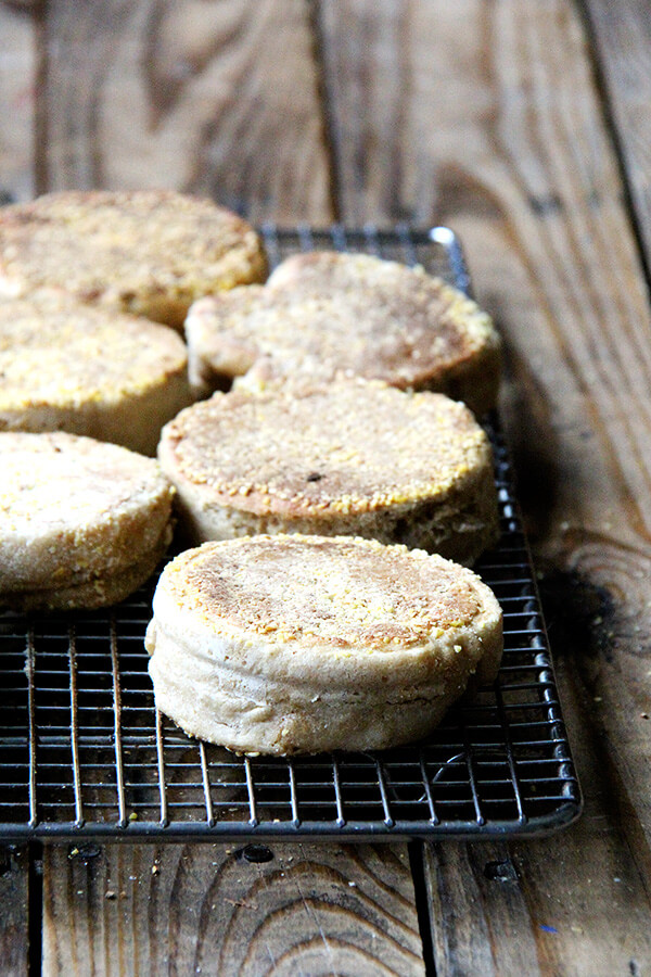 This recipe for English muffins is a little fussier — it requires an overnight rise and English muffin rings because the dough is so wet — but it is fun to make and the reward of a homemade egg sandwich or eggs benedict or simply a warm muffin spread with butter and jam is well worth the planning and effort. // alexandracooks.com