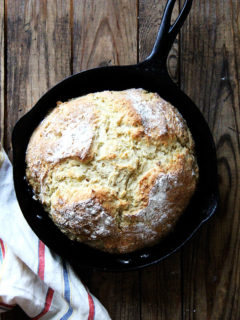 a cast iron skillet with Irish soda bread
