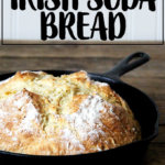 A skillet filled with Irish Soda Bread.