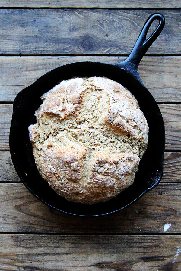 just-baked whole wheat Irish soda bread