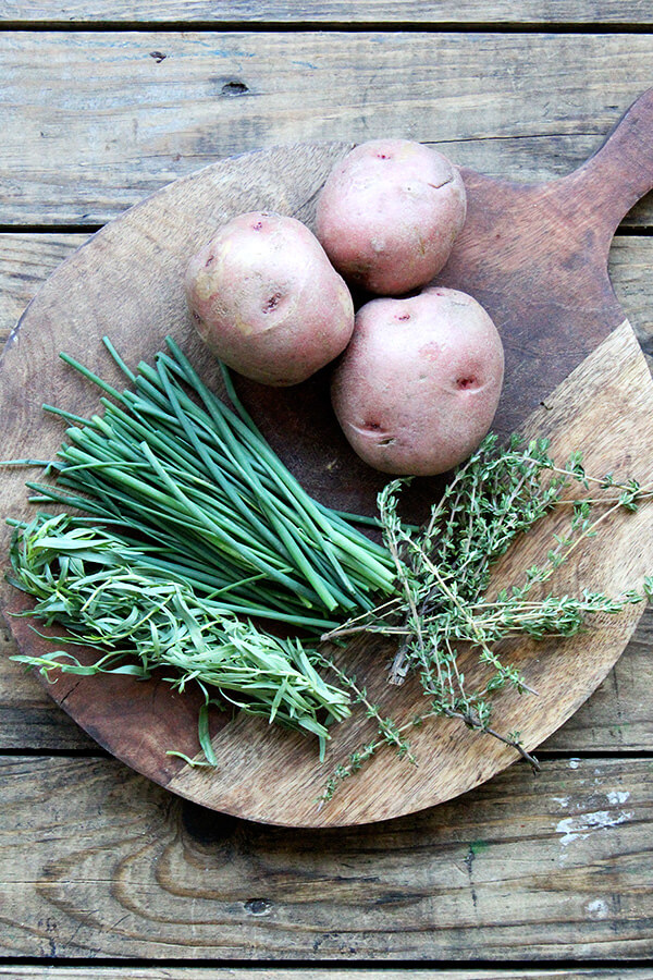 herbs and potatoes